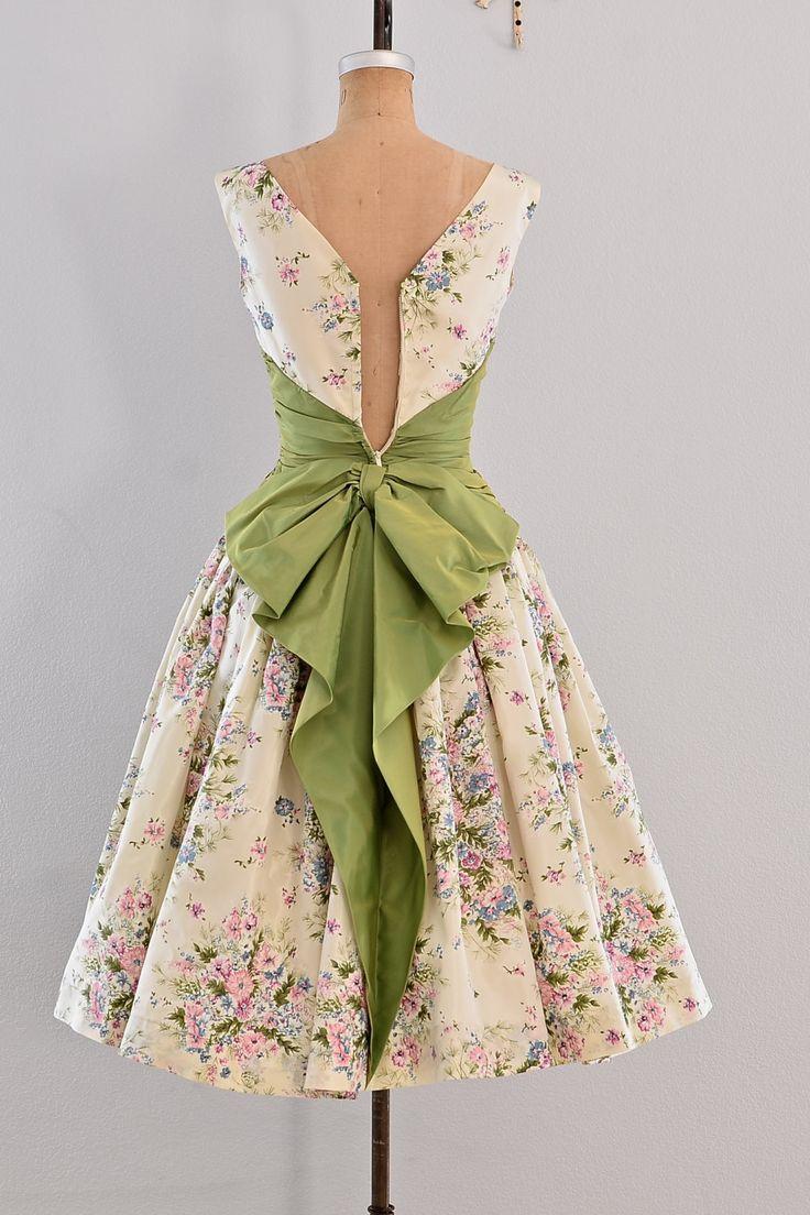 Vintage 1950s dress - party dress / floral print / belle ...