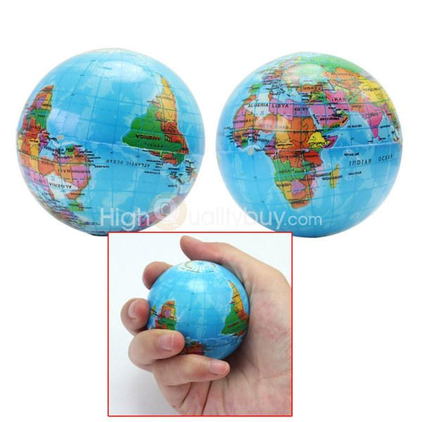 2Pcs Kids Geography World Map Foam Earth Globe Stress Relief Bouncy Ball Toys - $3.16