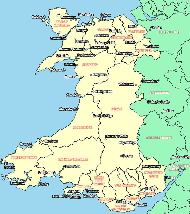 Wales map is showing counties cities towns of Wales on this map