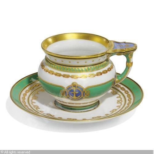 IMPERIAL PORCELAIN MANUFACTURE (Russia),A CUP AND SAUCER FROM THE SERVICE FOR THE IMPERIAL YACHT 'DERZHAVA', (2),Sotheby's,London