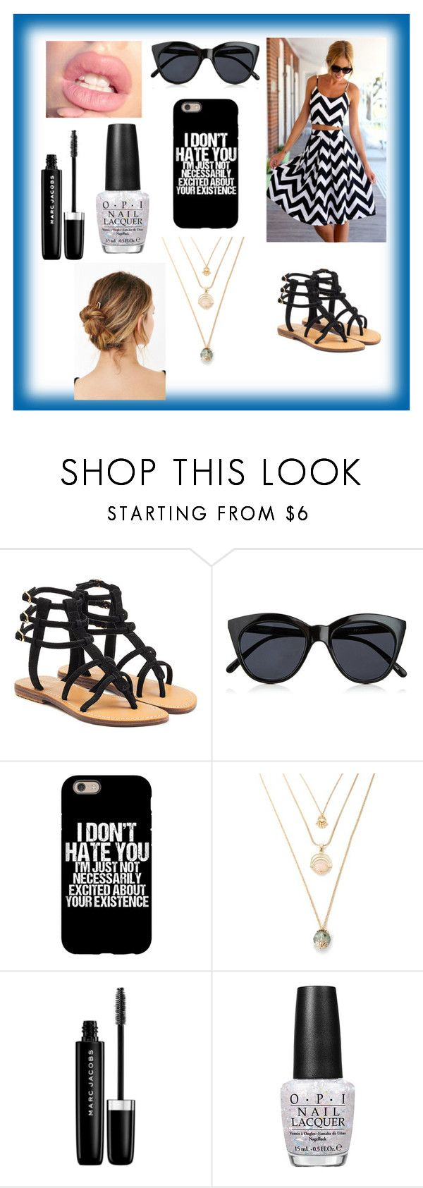 """Cute Chevron Outfit"" by kaitlynthestylist on Polyvore featuring Mystique, Le Specs, Marc Jacobs, OPI and Urban Outfitters"