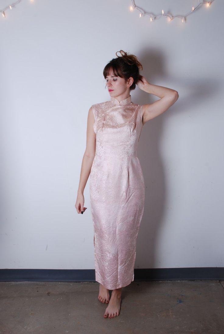 70er jahre kleine rosa cheongsam stehkragen stehkragen ärmellose körper con ausgestattet asiatischen maxikleid abendkleid abschlussball damen vintage