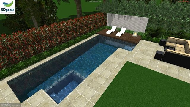Fun family pool with spa, sun deck & 10m lap lane . Buy this pool design and many more stylish designs at www.3d-pools.com.au
