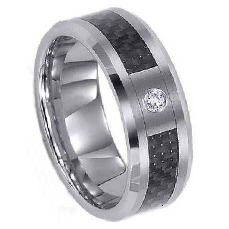 Titanium Ring with Carbon Fiber And CZ. Would definately do a real diamond though