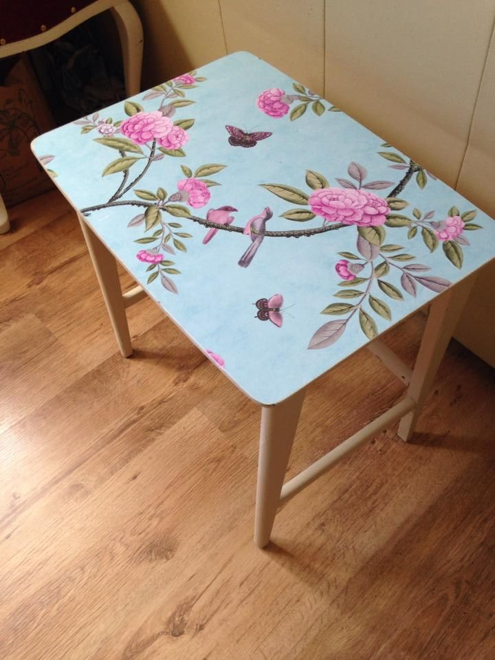 hand painted table papered top
