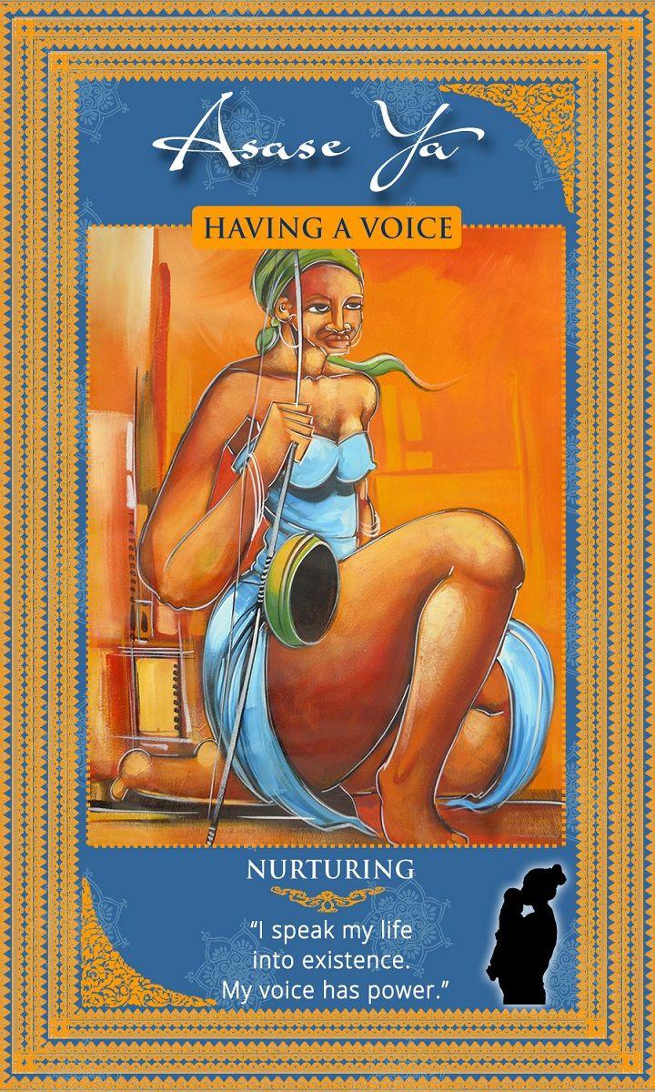 """Sacred Intention: """"I speak my life into existence. My voice has power."""" Ashanti Goddess Asase Ya. Manifesting and Sacred Feminine Energy. Womanifesting: Fertility Goddess Affirmation Cards"""