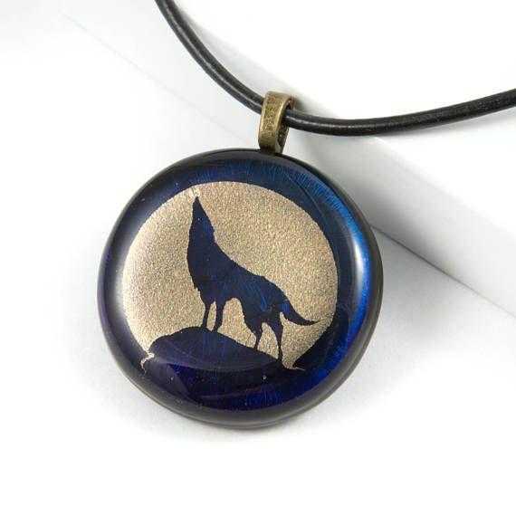 Looking for a meaningful gift for him? This wolf necklace pendant is very striking with the iridescent colors catching and reflecting light. Did you know that the wolf is recognized as a symbol of personal power, balance and self control? What a wonderful sentiment this howling wolf necklace would be as a Christmas gift for husband.  Exclusive to Whispering Raven Co.
