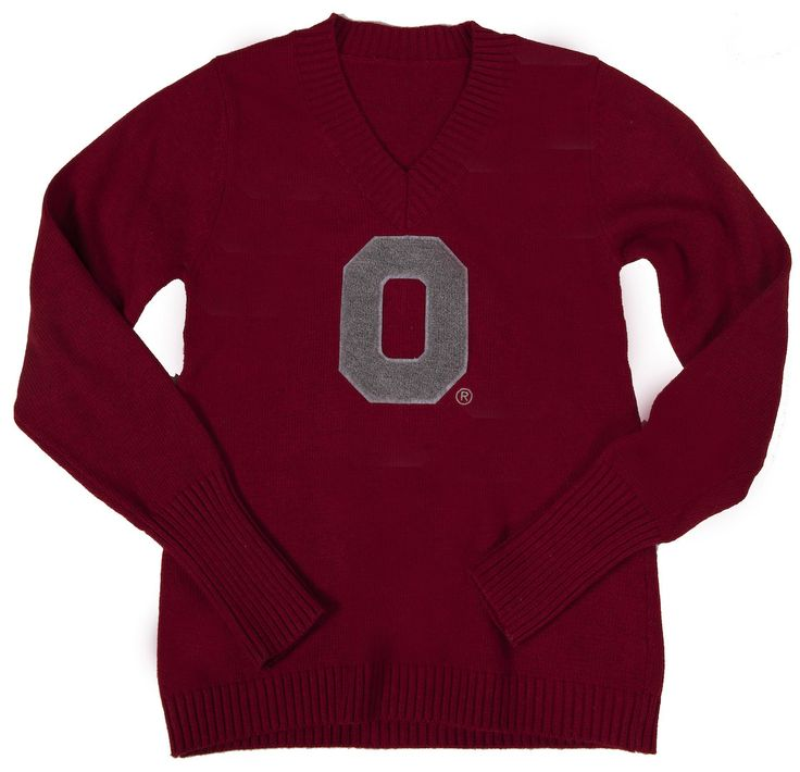 OSU Women's Scarlet V-Neck Sweater Available now at Buckeye Corner, Fanatics and online at collegetraditions.com