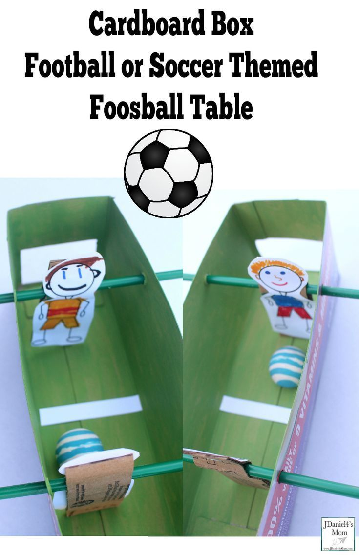 Cardboard Box Football Or Soccer Themed Foosball Table Sport Themed Crafts Foosball Table Sports Activities For Kids