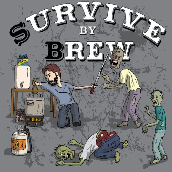 Survive by Brew Zombie shirt by ZombieSurvivorz on Etsy, $24.99