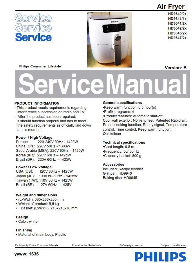 Philips Airfryer Hd9640 Hd9641 Hd9642 Hd9645 Hd9647 Service Manual Free Download Manual Philips Free Download