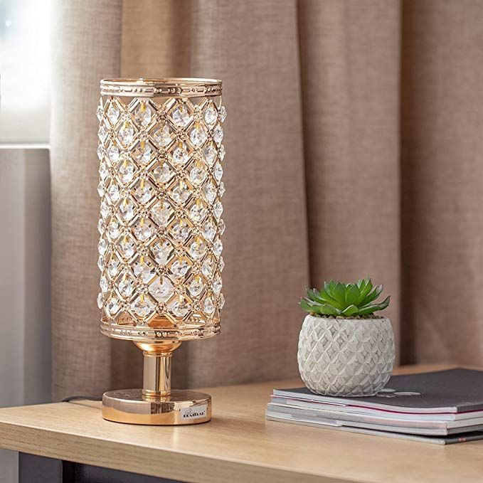 Haitral Crystal Bedside Table Lamps Modern Gold Nightstand Desk Lamp With Beads Lampshade Metal Base Stylish Bedside Lamps Beaded Lampshade Lamp Bedside Lamp