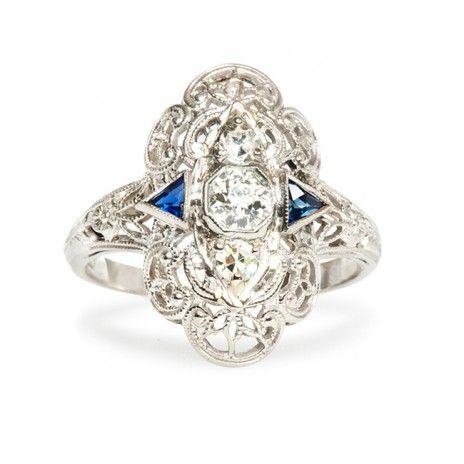 edwardian era engagement ring by Trumpet & Horn #ring #engagementring #diamond http://trumpetandhorn.com/lakeshire.html