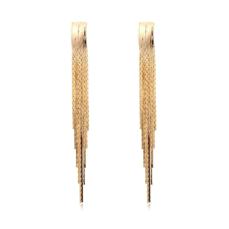 Lindo 18 k banhado a ouro liso longo borla Fringe gota Dangle brincos de luxo vestido de festa jóias para mulheres(China (Mainland))