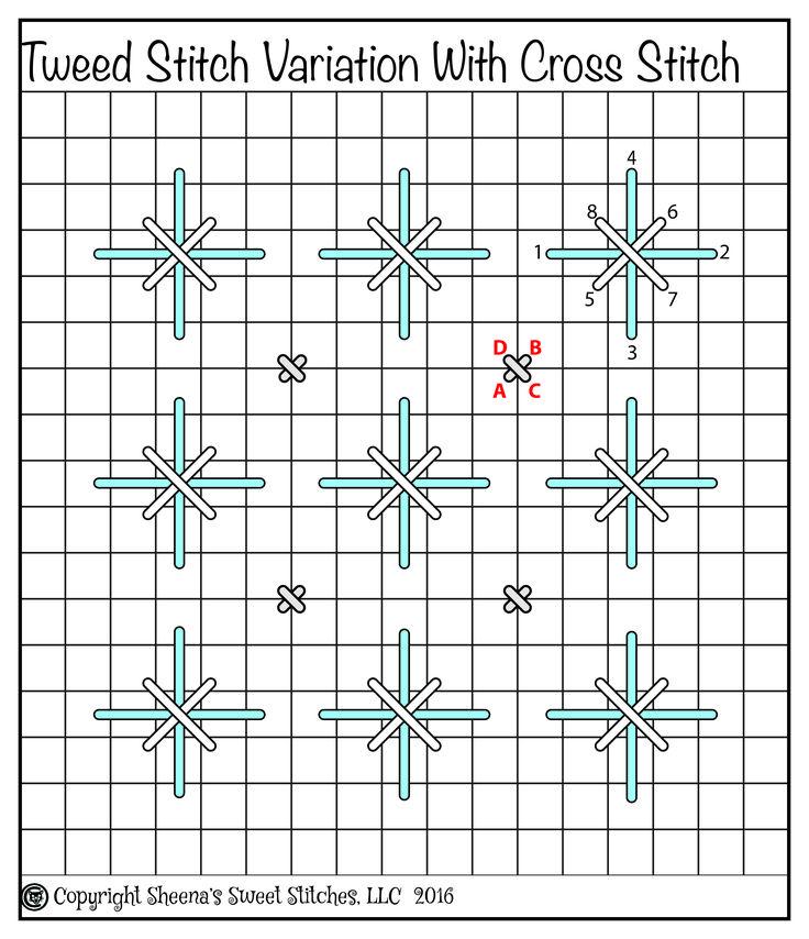 Tweed Stitch Variation with Cross Stitch