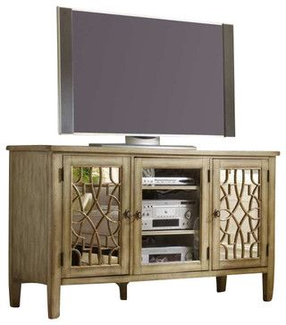 Hooker Furniture Sanctuary 60 Inch Entertainment Console in Surf-Visage transitional media storage