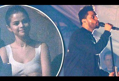 Selena Gomez watches from the sidelines during The Weeknd's Concert