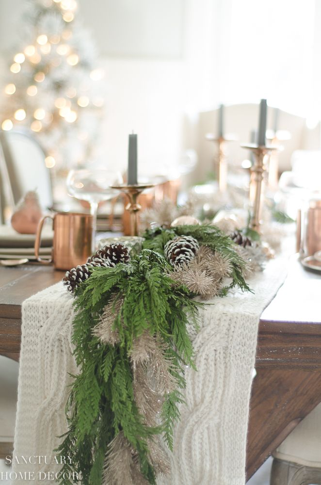 A Neutral Christmas Tablescape With Copper Accents December