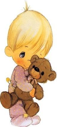 precious moments. we should all hug a bear.