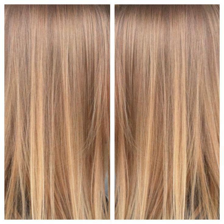 kiiltokäsittely - liukuväri - vaaleanruskeat hiukset- glossing - sombre- caramel haircolor