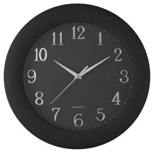 Carven Clock All Black With Silver Numbers