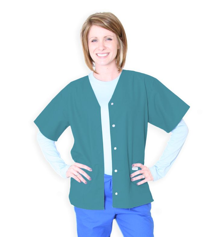 218C TEAL | Snap-Front Tunic V-Neck Two Pockets Snap Front Color Matched