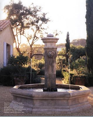 One type of a French fountain, a must in the French garden. Again, crushed limestone is used instead of pavers, tiles, or concrete.