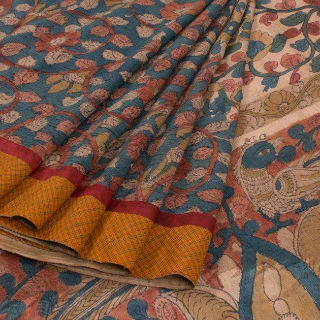 Hand Painted Pen Kalamkari Tussar Silk Saree With Rising Border & Floral Motifs 10011532 - AVISHYA.COM