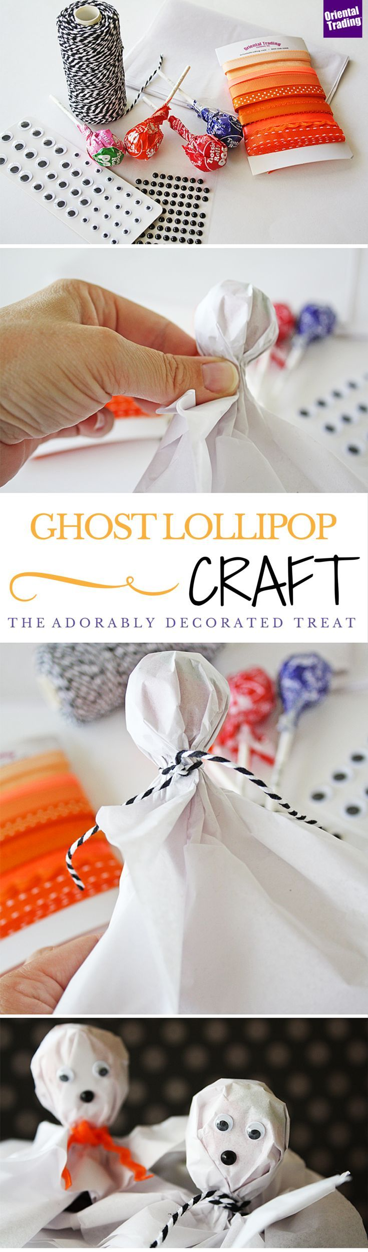What kid wouldn't want an adorably decorated tootsie pop for Halloween? Make these quick and easy ghost tootsie pops for your kids to hand out on Halloween. Their classmates will be pleasantly surprised to have this spooky treat in their cubbies.
