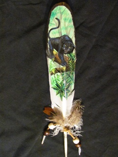 Jaguar with jungle scene on imitation Eagle feather. http://greaseandgrace.com/