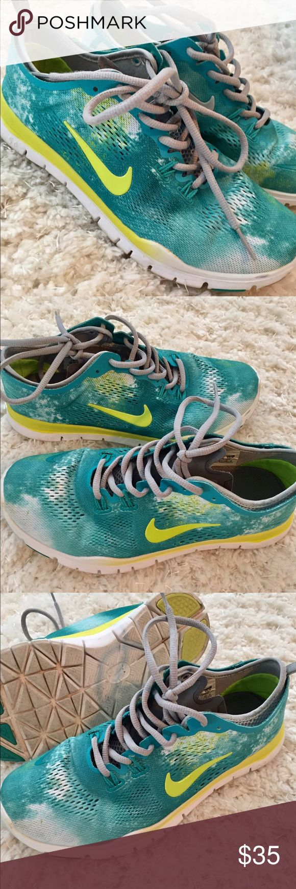 Nike free 5.0 teal neon green galaxy 8.5 Nike free 5.0 teal neon green galaxy 8.5 tennis shoes. Gently loved. Shipped from smoke free home. Nike Shoes Sneakers