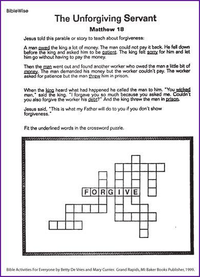 Crossword (The Unforgiving Servant) - Kids Korner - BibleWise