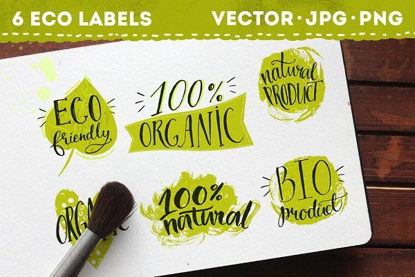 Eco labels with hand lettering - Illustrations