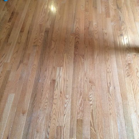 an unfinished red oak floor we installed and in a