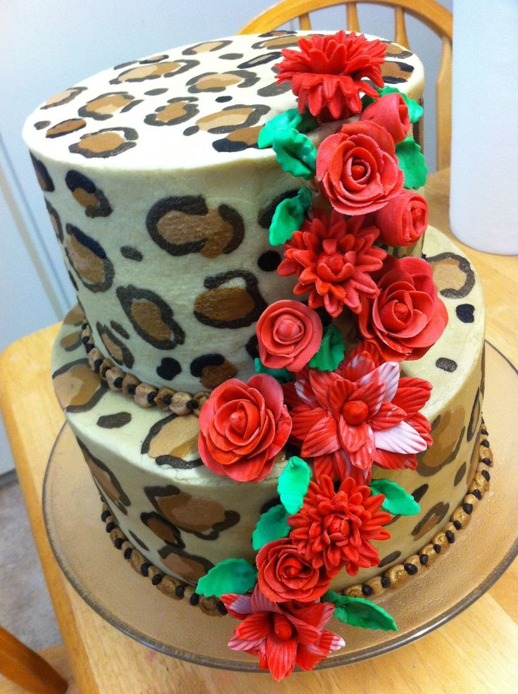 All Buttercream Leopard Print With Fondant Flowers While Investigating How To Do Leopard Print With Only Buttercream I Found Instructions B