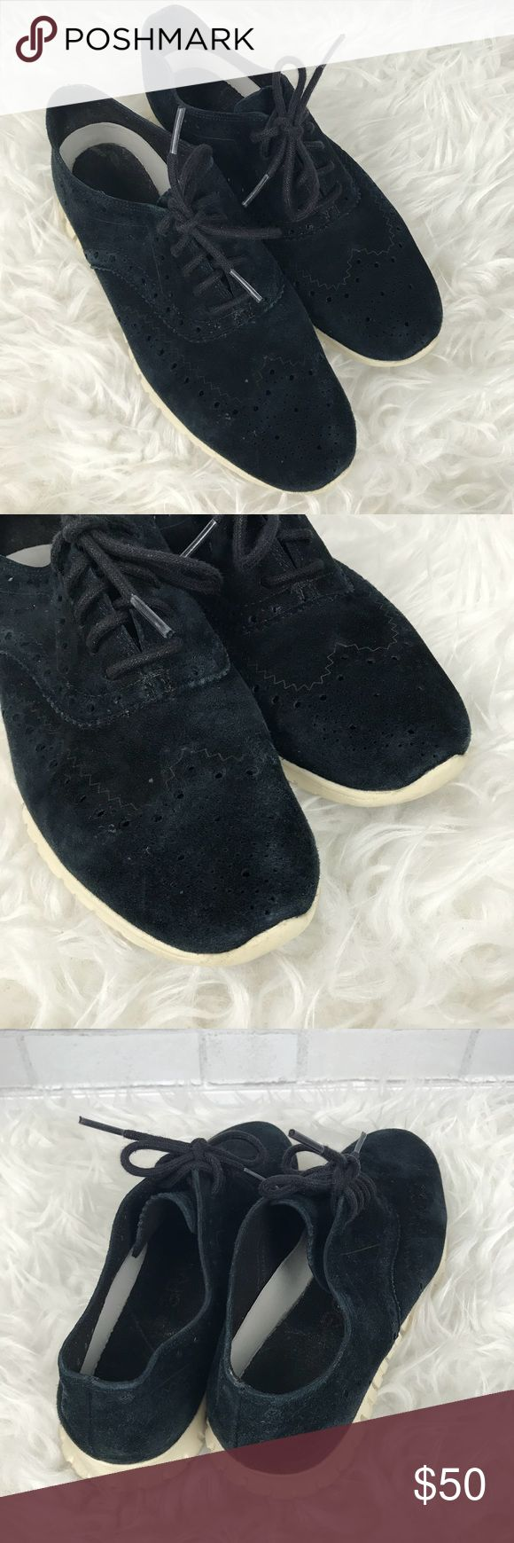Cole Haan Zerogrand Suede Wingtip Oxford Sneakers Good condition Cole Haan Zero Grand Blue Suede Wingtip Oxford Sneakers. Size 6.5. Navy blue suede with white rubber soles. Wingtip design with brogue detailing. Adjustable lace ups. No major flaws. No trades, offers welcome. Cole Haan Shoes Sneakers