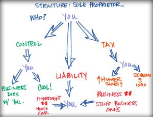 I chose this image because I thought it was a good quick diagram showing how sole proprietorship works in terms of taxes, liabilities, and control. Obviously, one of the advantages of a sole proprietorship is optimum levels of control. However, some disadvantages are the liability is all on you and taxes are typically higher. Overall, the sole proprietorship business model works best for someone who likes total control and is taking on little liability.