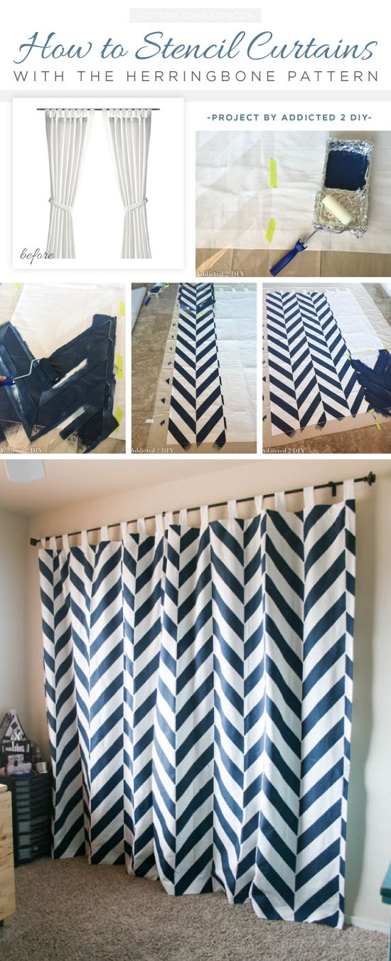 Cutting Edge Stencils shares how to make DIY stenciled curtains using the Herringbone Allover Stencil. http://www.cuttingedgestencils.com/foam_roller_stenciling.html