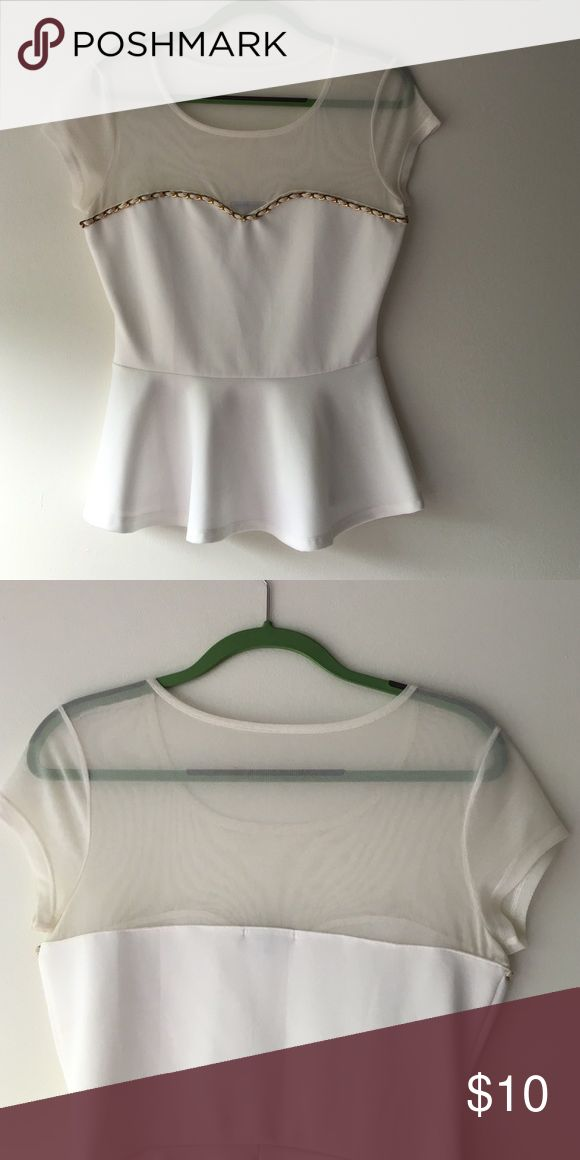 White blouse from Charlotte Ruuse Peplum top from Charlotte Ruuse, only worn about twice. Charlotte Russe Tops Blouses