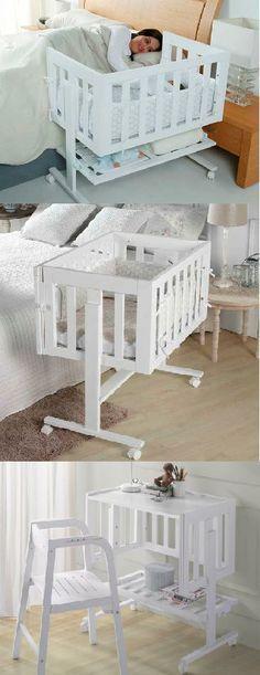 Preciosa minicuna que te permite toda la intimidad con tu hijo y además es multifuncional porque cuando crece se hace escritorio. De VENTA aquí. Crib-desk