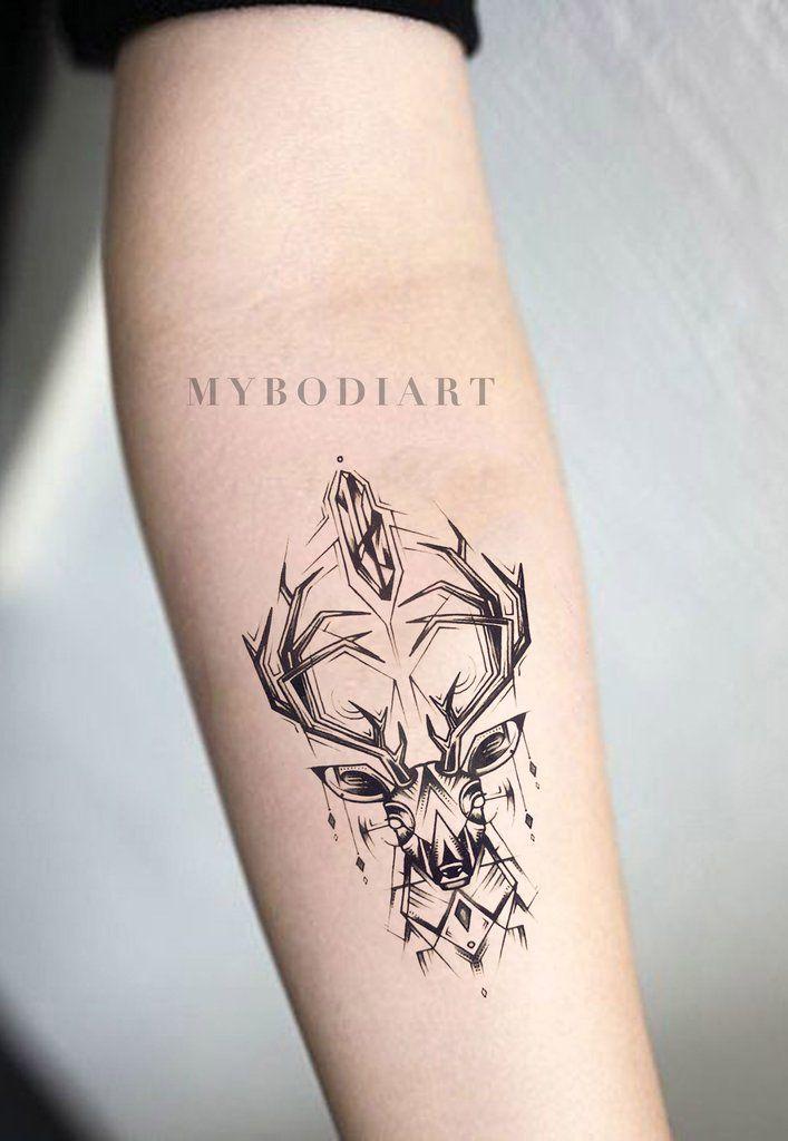 Deer Forearm Tattoo Ideas for Women – Black Geometric Antlers Feminine Spirit An…