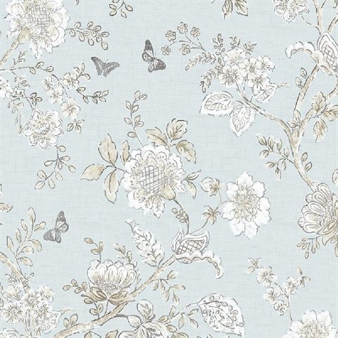 Fh37537 Butterfly Toile Wallpaper Totalwallcovering Com