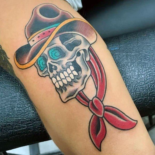60 Cowboy Hat Tattoo Ideas For Men Western Designs In 2020 Cowboy Hat Tattoo Cowboy Hats Tattoos