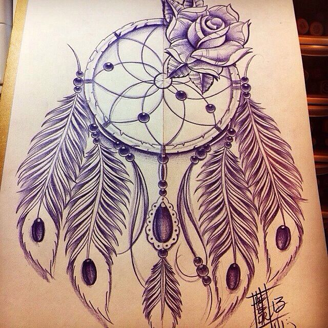 Dream catcher tattoo, full of shading and detail