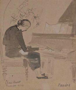 Rudolf Kundera, Clara Haskil, 1948, Encre de Chine et gouache sur papier, Musée Cantini, Marseille (photo Claude Almodovar – Michel Vialle)