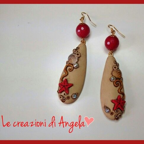 Polymer clay summer earrings with original swarovski and shells