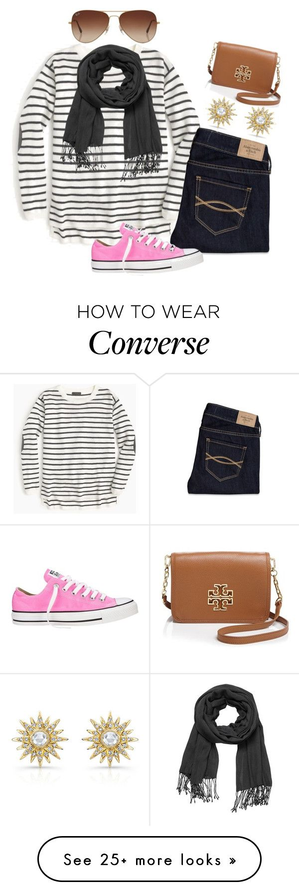 """Pink Converse"" by chellylovesyew on Polyvore featuring J.Crew, maurices, Abercrombie & Fitch, Converse, Tory Burch and Rayban"