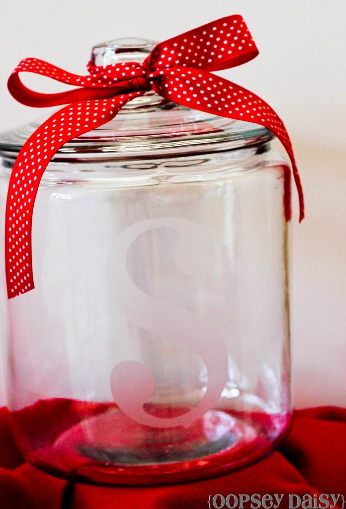 Etched glass cookie jar. A simple gift idea, especially filled with homemade cookies! :)