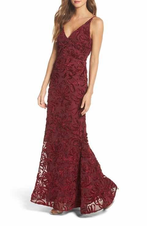 Xscape Flocked Velvet Gown | prom | Pinterest | Velvet gown, Gowns ...