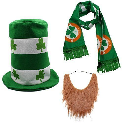 St Patrick's Day Irish Shamrock Party Costume Suit Hat Bow Bow Tie Beard Scarf #StPatricks